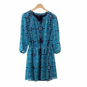 Anthropologie Rose & Olive Blue Ikat Print Dress